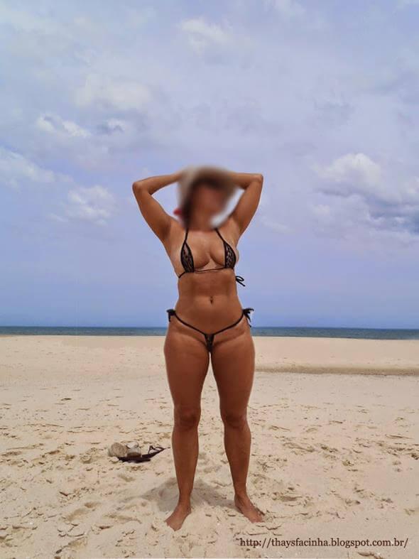 coroa rabuda de fio dental na praia